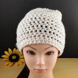White Handmade Crocheted Beanie Hat